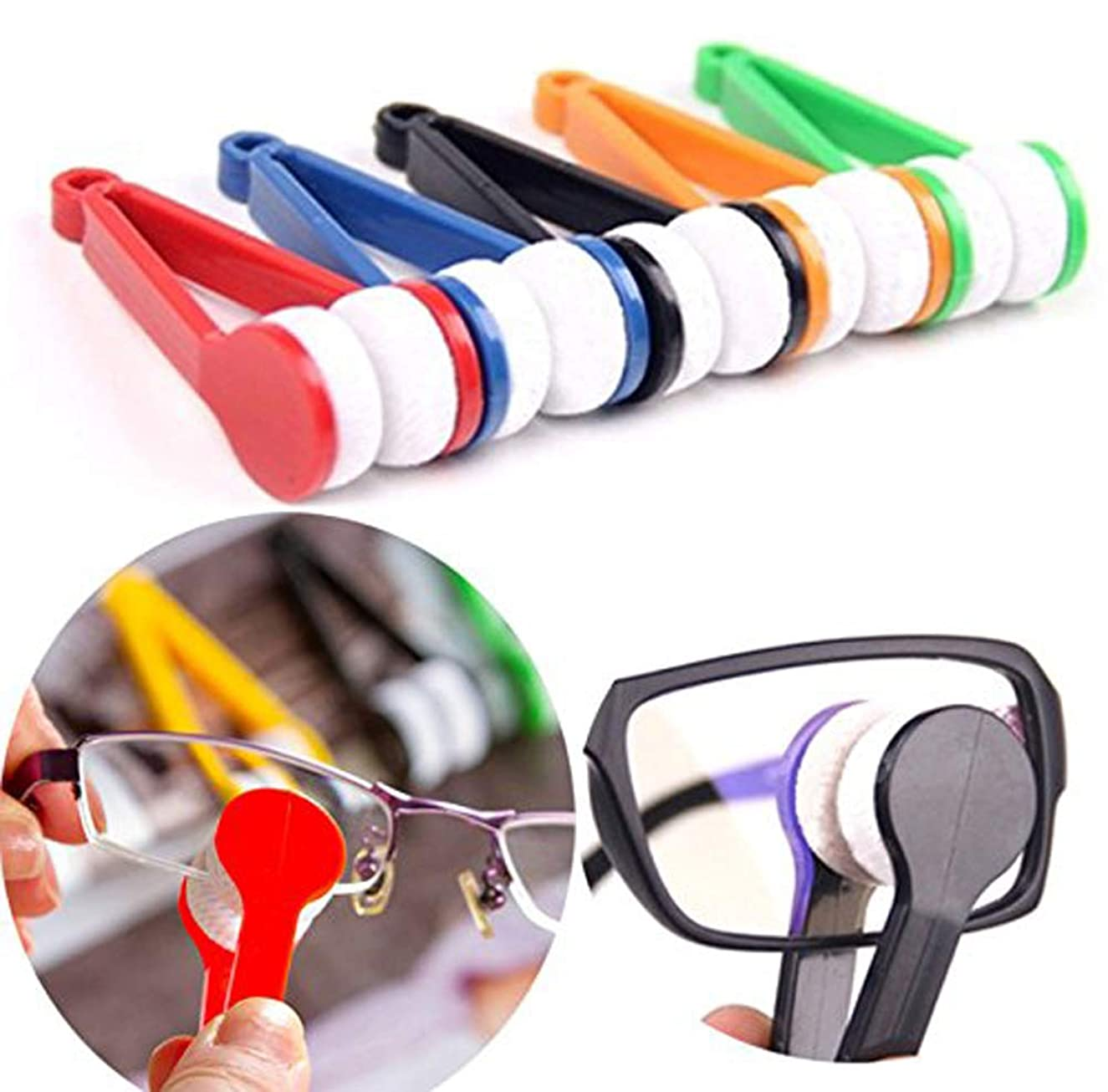 10pcs Microfiber Multi-functional Portable Mini Sun Glasses Eyeglass Spectacles Cleaner Brush Cleaning Clip Tool(Random Color) (10)