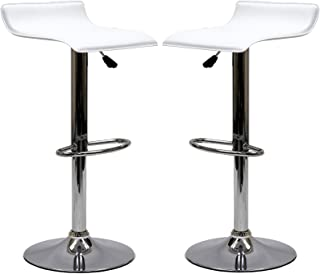 Modway Gloria Vintage Modern Faux Leather Upholstered Swivel Two Bar Stools in White