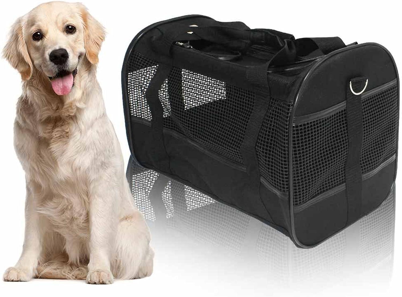 AGOOL Pet Carrier Luxury Large Soft Sided Foldelable Pet Travel Tote con Remable Airline Approvato Fleece Bedding per Puppies, Gatti e Animali 19x11x12 pollice (nero)
