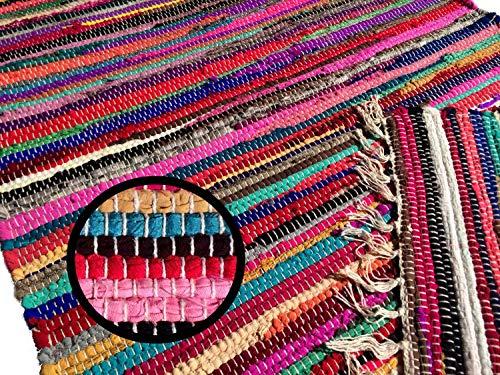 kufstein Bunter Teppich Handgewebt aus Indien Restbaumwolle Kelim in Diverse Größen, Größe Teppiche:120 x 060 cm