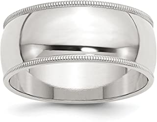 925 Sterling Silver 9mm Half Round Milgrain Wedding Ring Band Classic Fine Jewelry Gifts For Women For Her