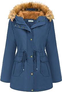 Kate Kasin Women's Winter Warm Hooded Parka Coat with Thicken Fleece Lined Outwear Jacket