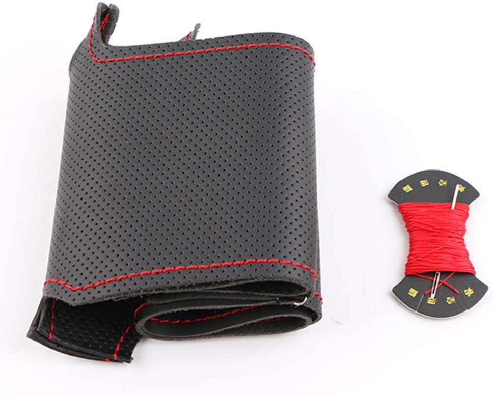 Large discharge sale VIdisp Red Marker Choice Black Artificial Cover Steering Wheel Leather