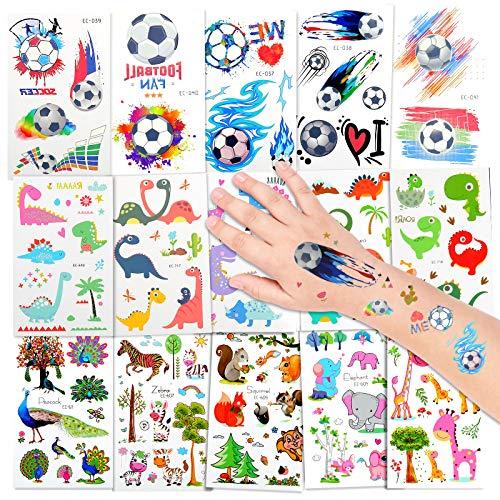EKKONG Tatuaggi per Bambini, Dinosauro e Calcio e Animale Tatuaggi Temporanei, Tatuaggi Finti Adesivi, Tatuaggi Impermeabili per Feste di Compleanno, Ragazze Ragazzi (15 Fogli)
