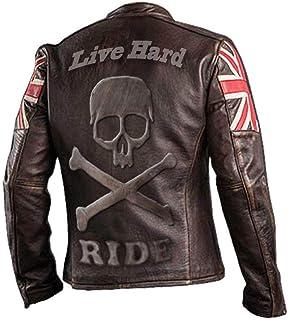 ad alta protezione colore marrone in pelle LeatherTeknik Giacca corazzata da uomo per motociclisti sportivi DC-4044