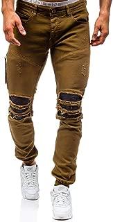 LUKEEXIN Plus-Size Cotton Jeans Denim Trousers Men's Slim Solid Color Spring Autumn Ripped 80s Pants