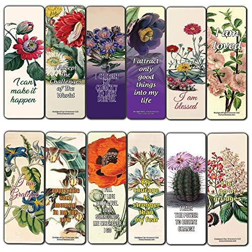 Creanoso Inspirational Positive Affirmation Sayings Flower Bookmarks (60-Pack) – Inspiring Quotes Bookmarker Cards – Premium Stocking Stuffer Gift Ideas for Women, Ladies, Bookworms – Bulk Set