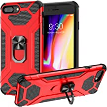 FineUsea Heavy Duty Case, Case Hard PC Soft Bumper Protective Phone Case, Ring Holder for iPhone 7 Plus/8 Plus(5.5 inch) Cover Strong Guard Protection Case Shock Proof (Red-7+/8+)