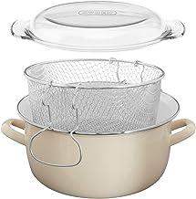Premier Housewares 5L Frituurpan Emaille Chip Pan Friteuse Glas Deksel Chip Frituurpan Crème Frituurpan Friteuse Mand Klei...