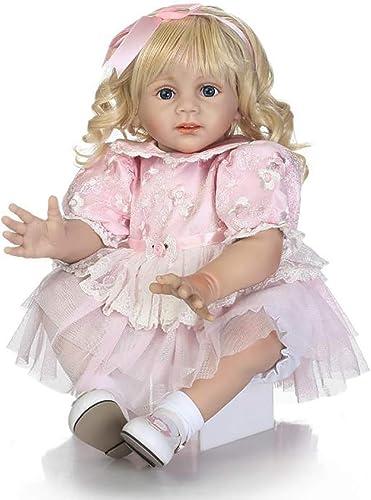 Reborn Babypuppe, 6cm Silikon Vinyl Weißer   lebensechte Babypuppe Goldene Lange Haare mit Baby Puppe Zubeh  Baby Spielzeug