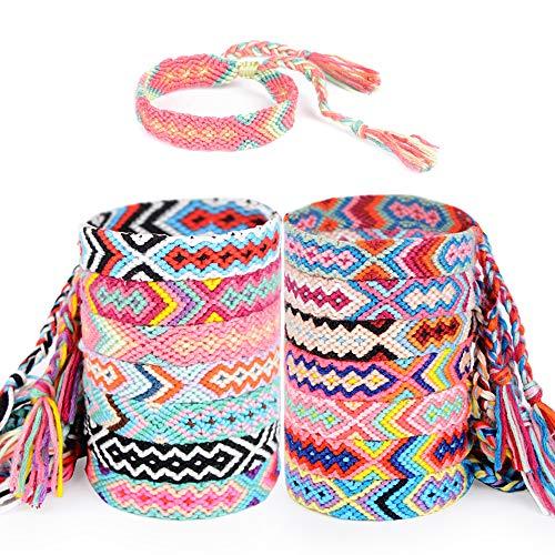 MEJOSER 14 Pezzi Braccialetti Amicizia Intrecciato Colorato Multicolore Filo Braccialetto Fatti a Mano per Polso Caviglia