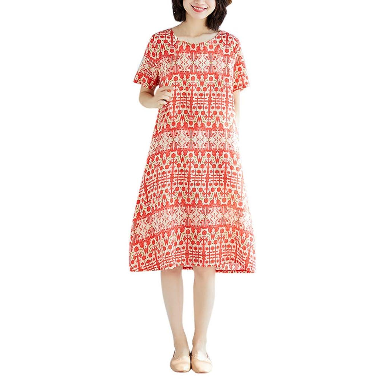 郊外神聖メンタリティワンピース レディース Rexzo 個性 女性ウエア 綿麻ワンピース エレガント 体型カバー リネンワンピ 着やせ 着心地 ワンピース おしゃれ 優しい風合い ワンピース ナチュラル シンプル ドレス 日常 お出かけ