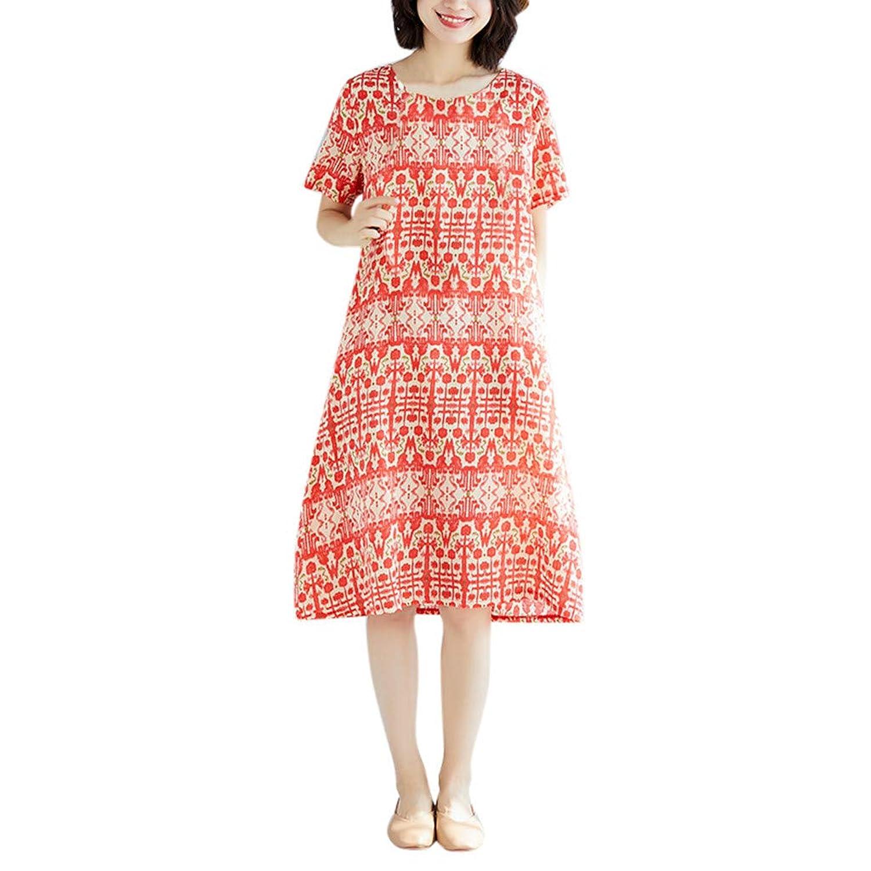 溶融粗いカテナワンピース レディース Rexzo 個性 女性ウエア 綿麻ワンピース エレガント 体型カバー リネンワンピ 着やせ 着心地 ワンピース おしゃれ 優しい風合い ワンピース ナチュラル シンプル ドレス 日常 お出かけ