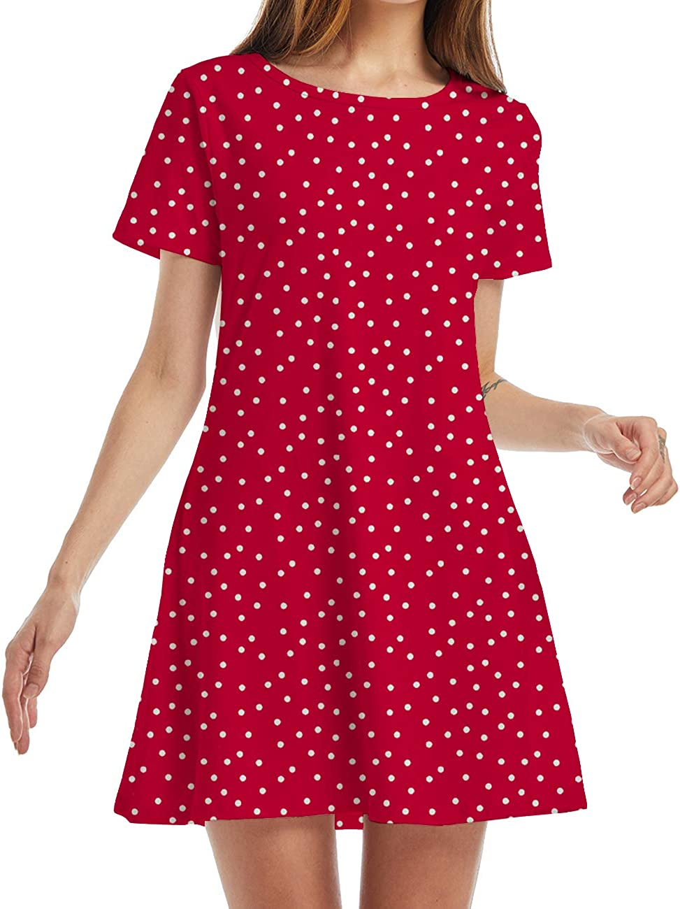 YIKUSO Women's Summer Casual Loose Tshirt Dresses Short Sleeve Boho Beach Dress