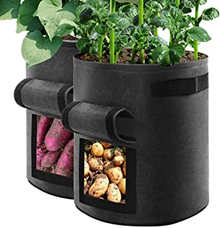 Samhe 10 Gallon Plant Grow Bags Aeration Fabric Pots with Magic Tape Window and Handles for Vegetable Potato Tomato Carrot...