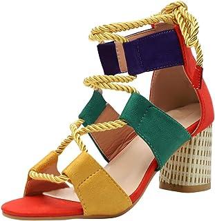 2a9c17c9 Sandalias Mujer de Tacon Bloque Zapatos Verano Peep Toe Cuña con Correa de  Tobillo Alpargatas Ancho