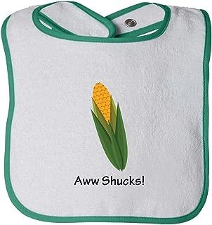 Aww Shucks! Corn On The Cob Infant Contrast Trim Terry Bib White/Green