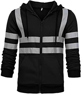 Mens High Visibility Hi Vis Safety Hooded Sweatshirt Top