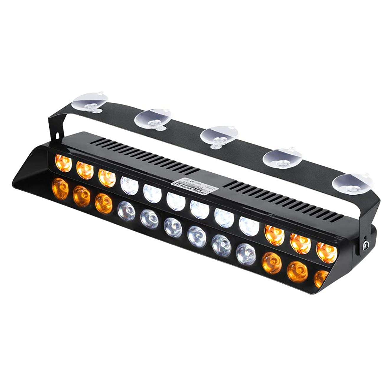 WOWTOU Amber White Warning Light 12W LED 16 Strobe Flashing Patterns for POV, Utility Vehicle, Construction Vehicle and Tow Truck