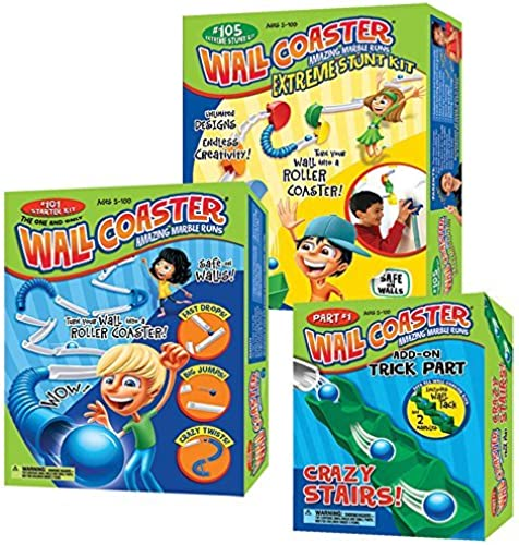 The Super Wall Coaster Set  Includes Super Starter Kit, Extreme Stunt Kit, and Crazy Stairs Add-On Pack by Wall Coaster