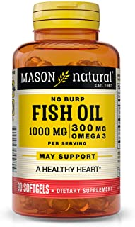 Mason Natural, Omega-3 Fish Oil, 1000 Mg, 90 Softgels, Dietary Supplement with Omega Fatty Acids from Fish Oil, Supports H...