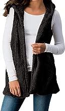 TWGONE Fleece Vest Women Plus Size Lady Solid Hooded Outwear Sleeveless Pockets Warm Waistcoat