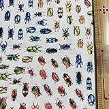 シーチング デジタルプリント さららJAPAN 昆虫プリント生地 甲虫 巾110cm 長さ100cm