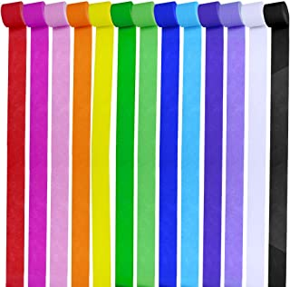 Supla 13 Rolls 355 Yard Party Streamers Backdrop Decorations Red Green Blue White Black Crepe Paper Rainbow Streamers 1.8