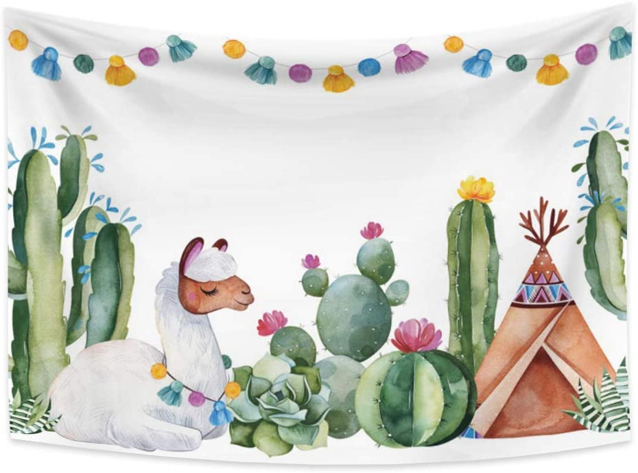 Yongto 70.9x62.3 inches Alpaca and Cactus Wall Hanging Green Succulents Cacti Flowers Tassels Llama Tent Desert Lovely Picture Tapestry for Dorm Girl's Birthday Party Decor Beach Throw