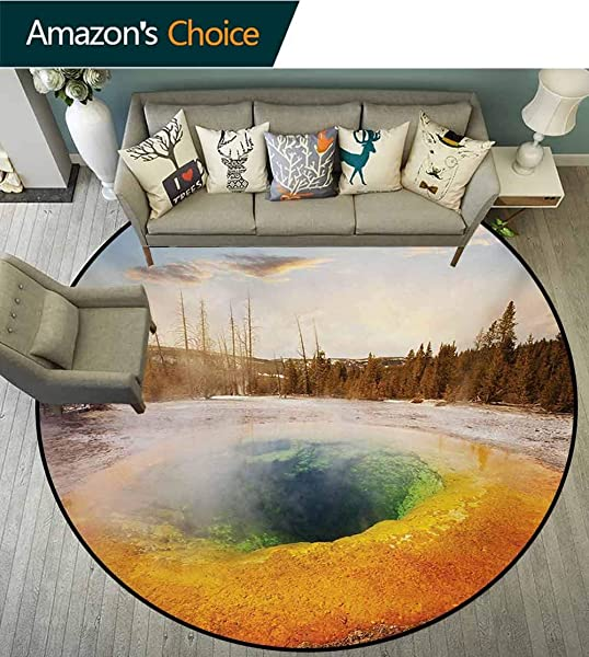 RUGSMAT Yellowstone Computer Chair Floor Mat Morning Glory Pool In Yellowstone National Park Winter Scene Landmark Theme Printed Round Carpet For Children Bedroom Play Tent Diameter 24 Inch