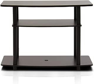 FURINNO Turn-N-Tube No Tools 3-Tier TV Stands, Dark Brown/Black