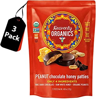 Heavenly Organics Chocolate Peanut Honey Patties, Made with 100% Organic Cocoa - 100% Organic Raw White Honey; Non-GMO, Fair Trade, Kosher, Dairy & Gluten Free, No Sugar Added 12 per Bag (3 Pack)