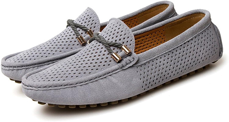 Gräv hundben hundben hundben Män's Driving Loafers Andningsverkbar Perferation Genuine läder Vamp  heta sportar