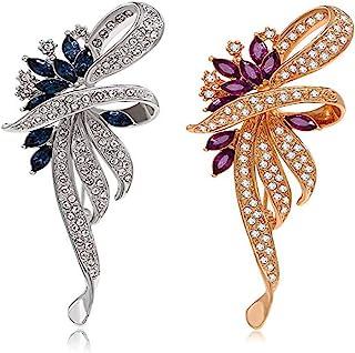 CAREOR - Spilla floreale in stile vintage con cristalli creati per donne, ragazze, signore con cristalli blu e viola