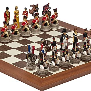 Hand Painted Napoleon & The Duke of Wellington Chessmen & Stuyvesant Street Chess Board from Spain