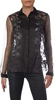Sachin + Babi Womens Embroidered Floral Print Blouse