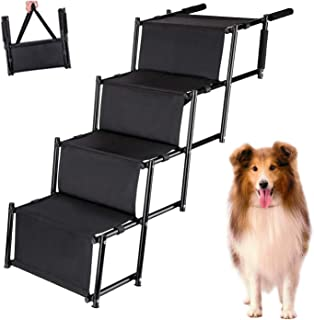 USINSO Dog Car Step Stairs pet ladder steps folding Height Adjustable Durable Metal Frame (Up to 100 lbs)Lightweight Portable RAMP for Large and Medium Dog Car SUV Couch and Bed for indoor outdoor use