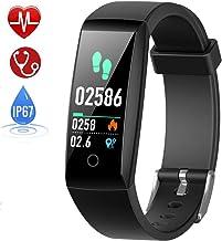 HETP Pulsera de Actividad, Reloj Inteligente con Pulsómetro y Presión Arterial Relojes Deportivos GPS Impermeable IP67 Monitor de Ritmo Cardíaco Actividad Pulsera Reloj Fitness Podómetro