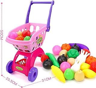 カート子供トロリーは、食料品セットのスーパーマーケットのショッピングおもちゃのために女の子の台所プレイハウスシミュレーション果物は、赤ちゃんのおもちゃのミニ役割をふり,25 pieces of blue