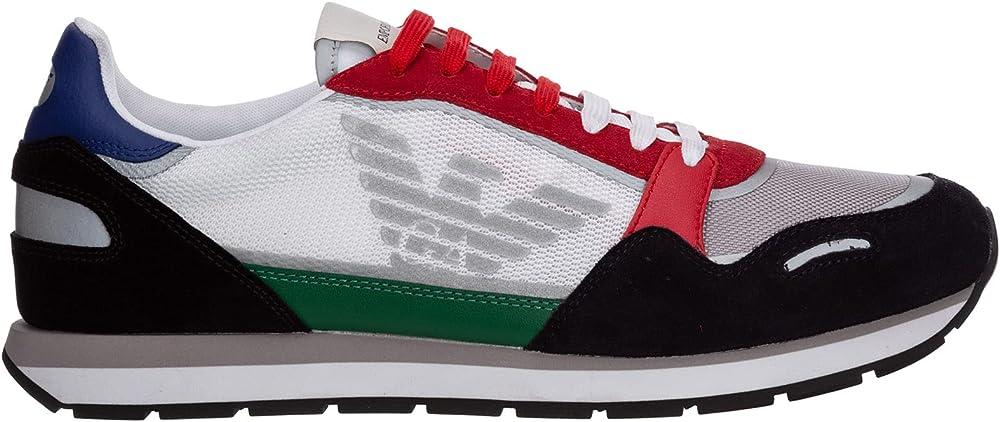 Emporio armani scarpe sneakers per uomo in pelle con logo X4X537 XM678