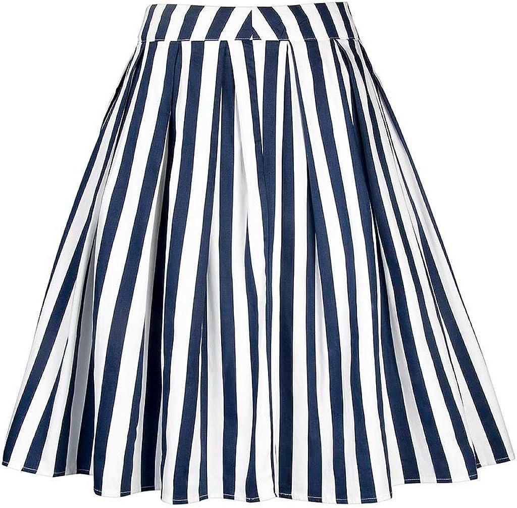 Women's Vintage Stripe Print A-line Skirt High Waist Pleated Skirts Flared Swing Midi Skirt