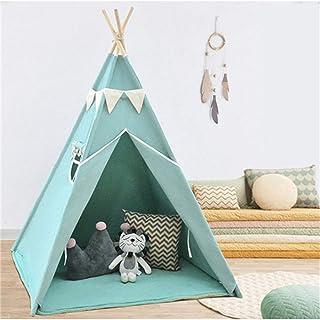 HO-TBO lektält, vikbar bomull duk tipi tält indisk lekstuga barn leker camping tält med furuträ ram vikbar matta för flick...