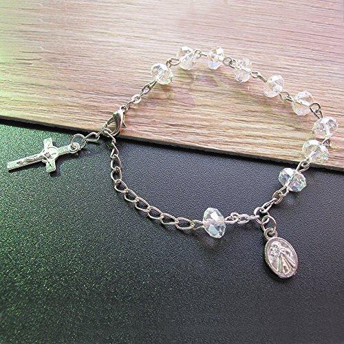 12 pulseras rosarias de cristal para bautizo, bodas, comuniones, Recuerditos de Bautismo