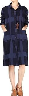 Women's Button-Down Long Shirt Plaid Long Sleeve Midi Dress Checked Jacket