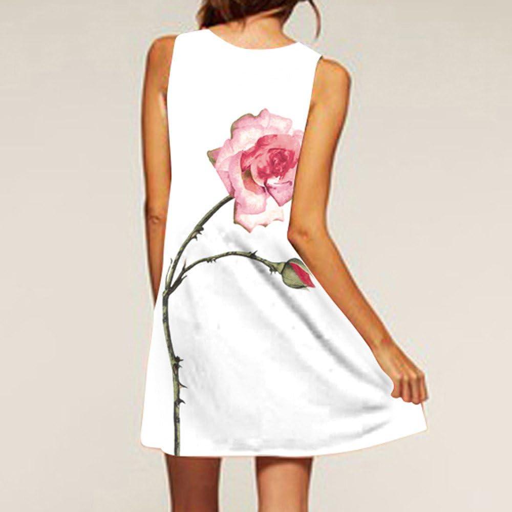Momoxi Damen Kleid,Sommer Sleeveless Boho Druck beiläufige Strand Weinlese Art und Weisekurzschluss Minikleid Weiß 8