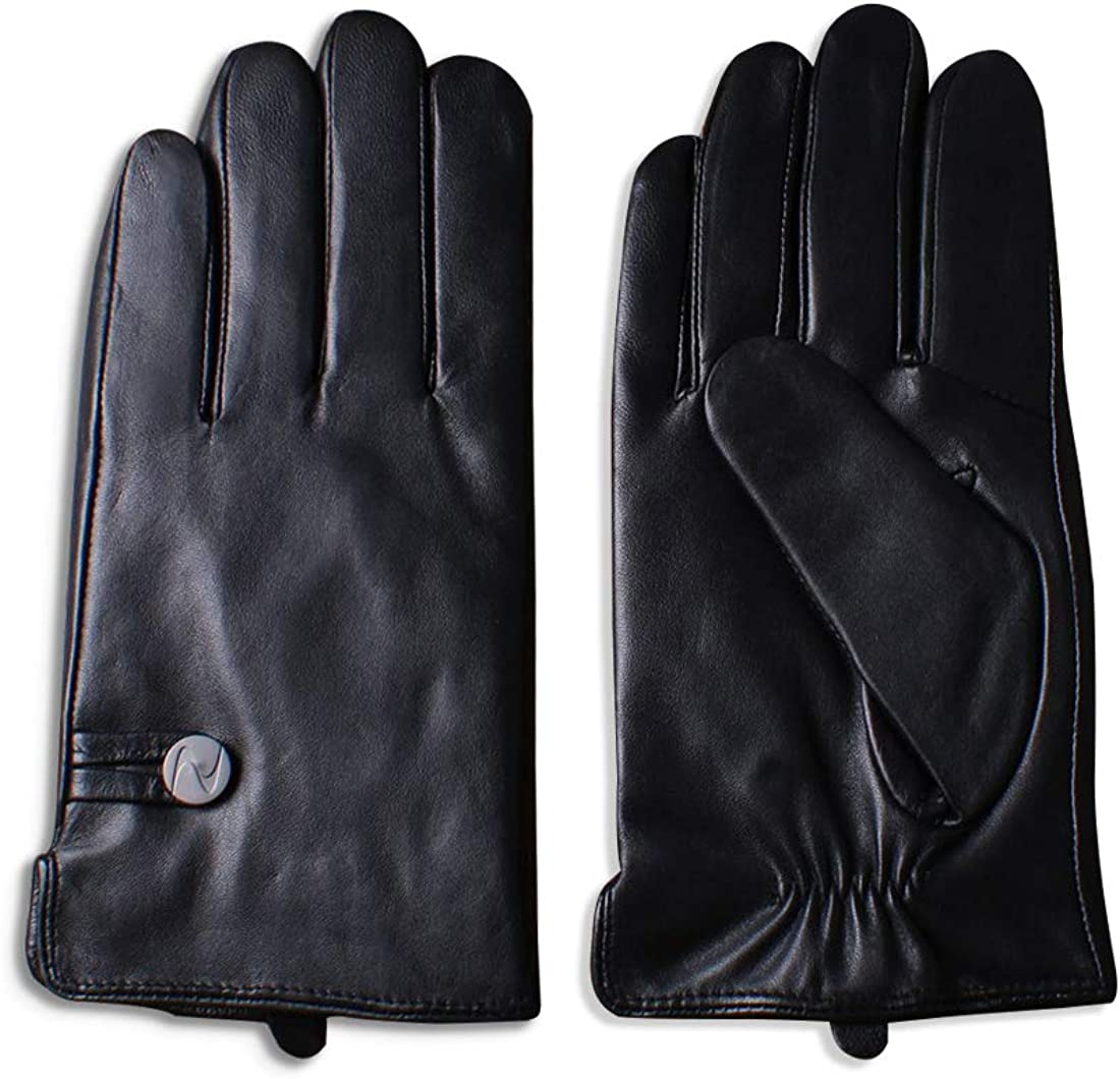 Nappaglo Men's Genuine Nappa Leather Gloves Touchscreen Simple Winter Warm Driving Cycling Mittens