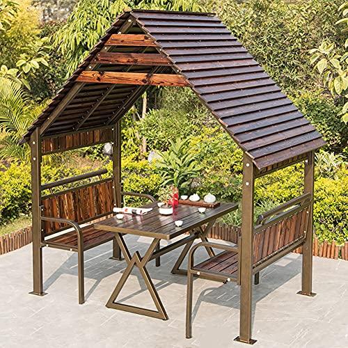 Gazebo de cabaña de troncos cenador al aire libre cenador de barbacoa patio cenador de madera anticorrosión diseño de jardín casa de campo casa al aire libre villa gazebo de cabina de madera maciza