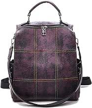 ERNANGUA Large Capacity Backpack Women Colorful Thread School Bags for Teenage Girls Shoulder Bag Rivet Travel Backpack Female (Color : Purple, Size : M)