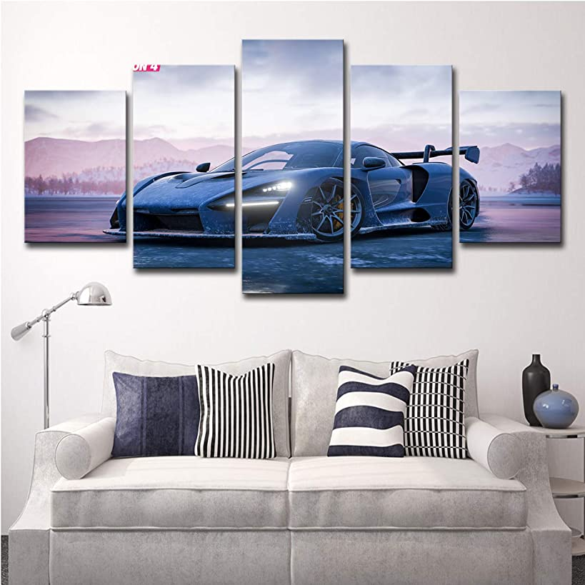 Framed Canvas Wall Art Pictures Ready to Hang 5 Panels Blue Sports Racing Cars Painting HD Printed Posters Artwork for Bedroom Living Room Modern Home Decorations