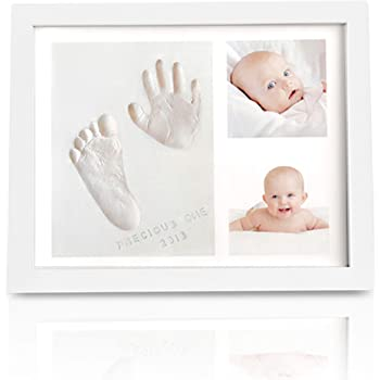 Baby Handprint Footprint Keepsake Kit - Baby Prints Photo Frame for Newborn - Baby Nursery Memory Art Kit Frames - Baby Shower Picture Frames for Baby Registry Boys,Girls (Alpine White)
